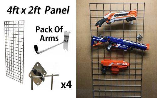 Nerf Gun Display 4FT Storage Childrens Kids Bedroom Wall Hanging Wall Grid New