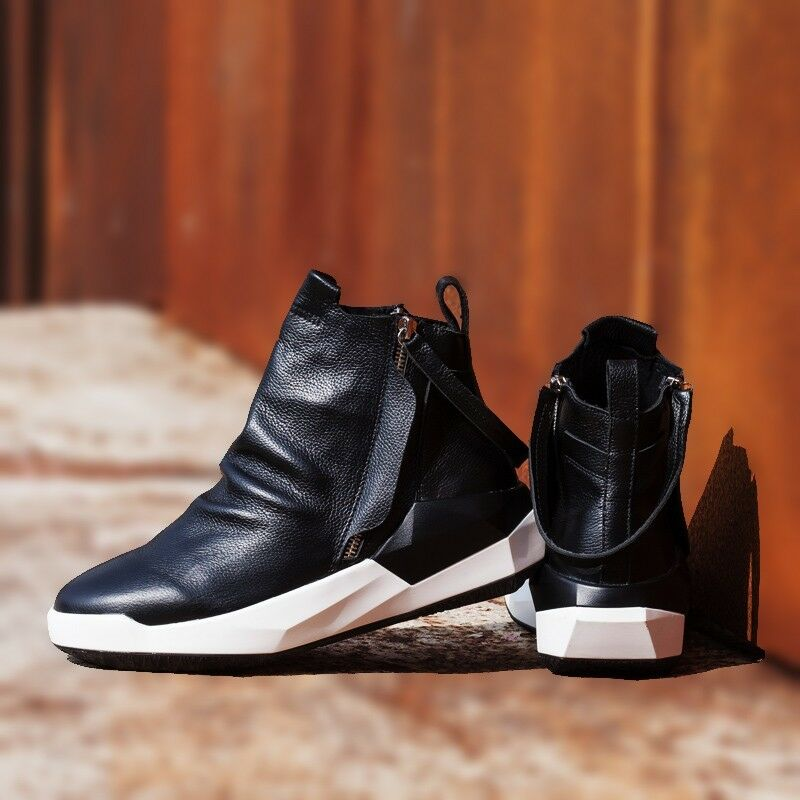 Men new leather high top ankle boots sneakers hidden low heel shoes athletic