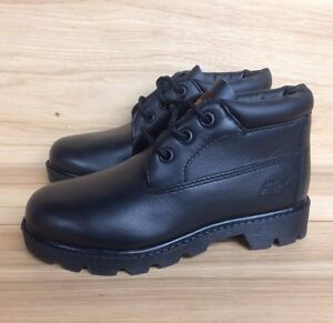 VINTAGE-TIMBERLAND-CHUKKA-BOOT-BLACK-LEATHER-YOUTH-PS-SZ-12-3Y-10720
