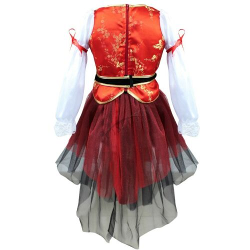 Kids Girls Pirate Halloween Costume Fancy Skirt Dress Hat Outfit Party Cosplay