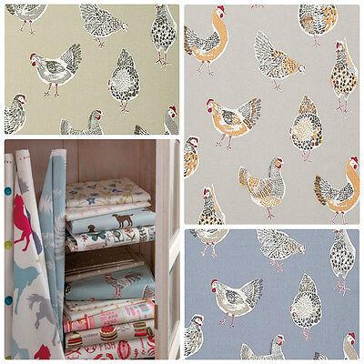 Clarke And Clarke Studio G Sketchbook Rooster Tessuto Per Tende Collezione- Facile Da Riparare