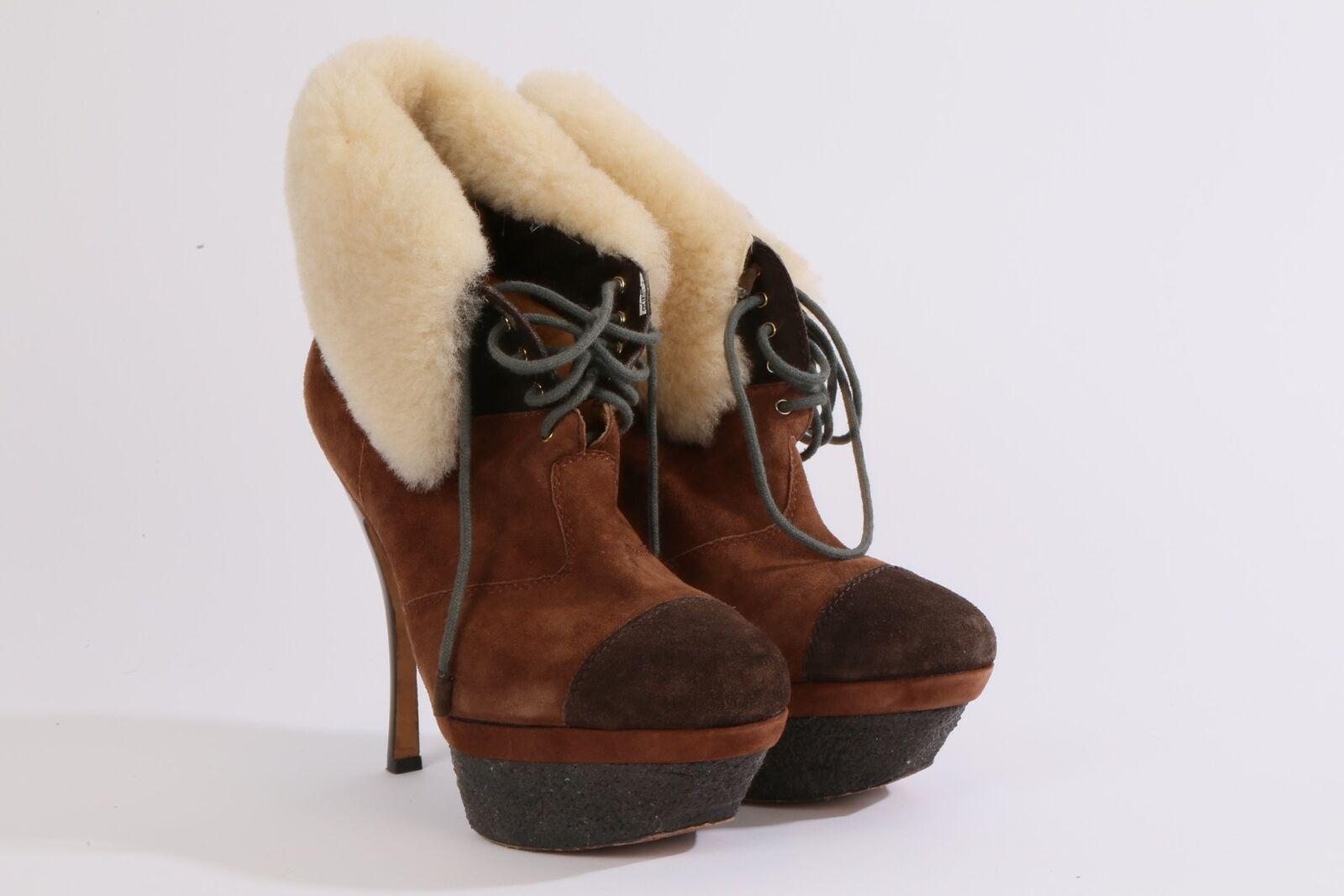 L.A.M.B. Gwen Stefani braun Suede Shearling Platform Ankle Stiefelies Größe 7.5 M