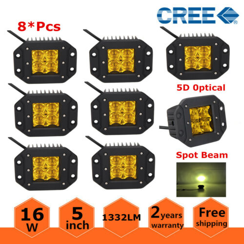 "10X 16W 5D Spot 5/""INCH LED Work Light Yellow Pods Flush Mount Amber Lamp Jeep"