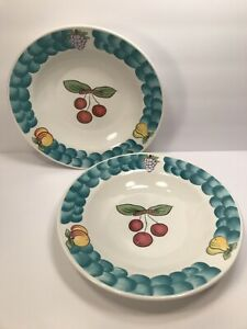 2-TABLETOPS-UNLIMITED-039-039-ITALIAN-FRUIT-039-039-CEREAL-BOWLS-9-1-4-039-039-WITH-CHERRY-CENTER