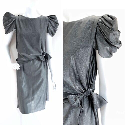 Vintage 80s Metallic Silver Gray Dress Big Puff Sl