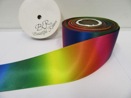 10mm 15mm 25mm 38mm 50mm Dark Rainbow Unicorn Satin Ribbon Foil Gradient Printed
