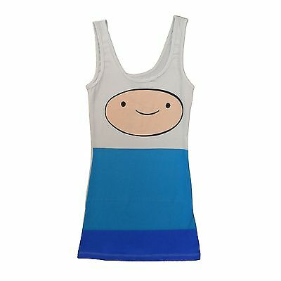 Adventure Time With Finn And Jake Big Face Finn Licensed Tunic Tank Dress S-XL