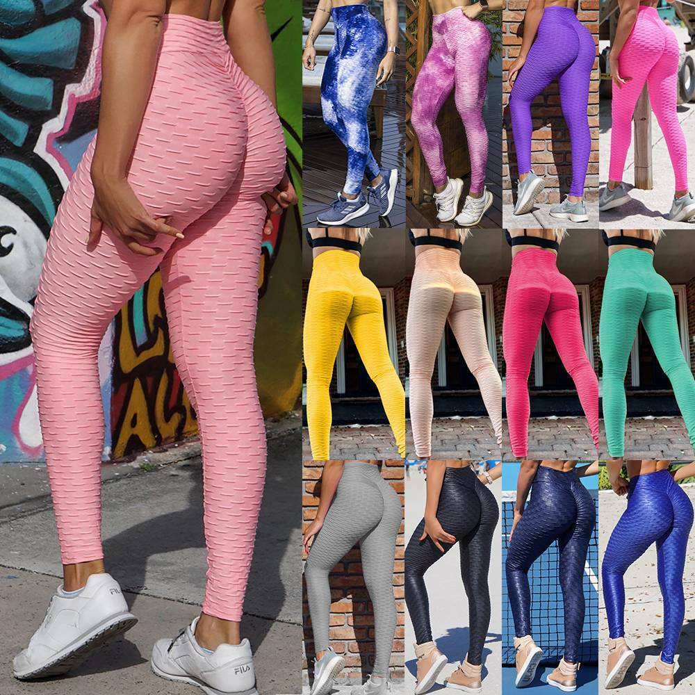Womens Anti Cellulite Leggings Ruched Yoga Pants Push Up Sports Scrunch Trousers