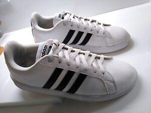 Details about Adidas Men's CloudFoam Size 10.5 Authentic Athletic Shoes White Black Stripes
