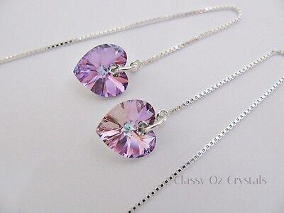 Sterling Silver Ear Thread Earrings mw  Swarovski Elements Vitrail Pink Heart's