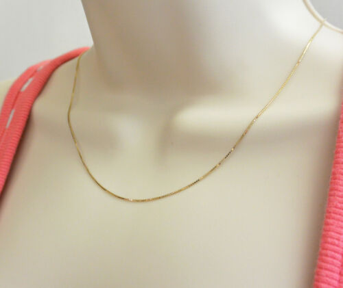 "14K Solid Real Yellow Gold 0.8mm Box Link Chain Necklace 16/"" Women /& Children"