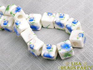 20pcs-10mm-Porcelain-Blue-Cube-Square-Ceramic-Porcelain-Big-Hole-Loose-Beads