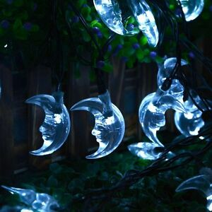 Moon Solar String Lights 20ft 30 LED fairy Christmas Light Sensor Decor White eBay