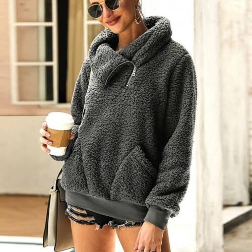 Womens Winter Warm Faux Fur Zip Sweatshirt Jumper Casual High Neck Tops Outwear
