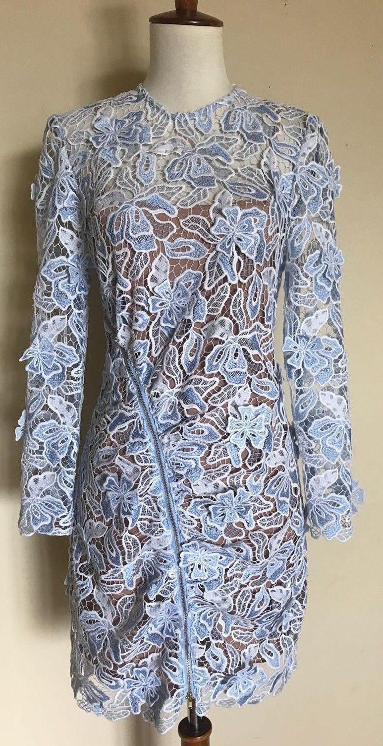 Självporträtt 3D Lily Mini Dress, blå vit, Storlek 4