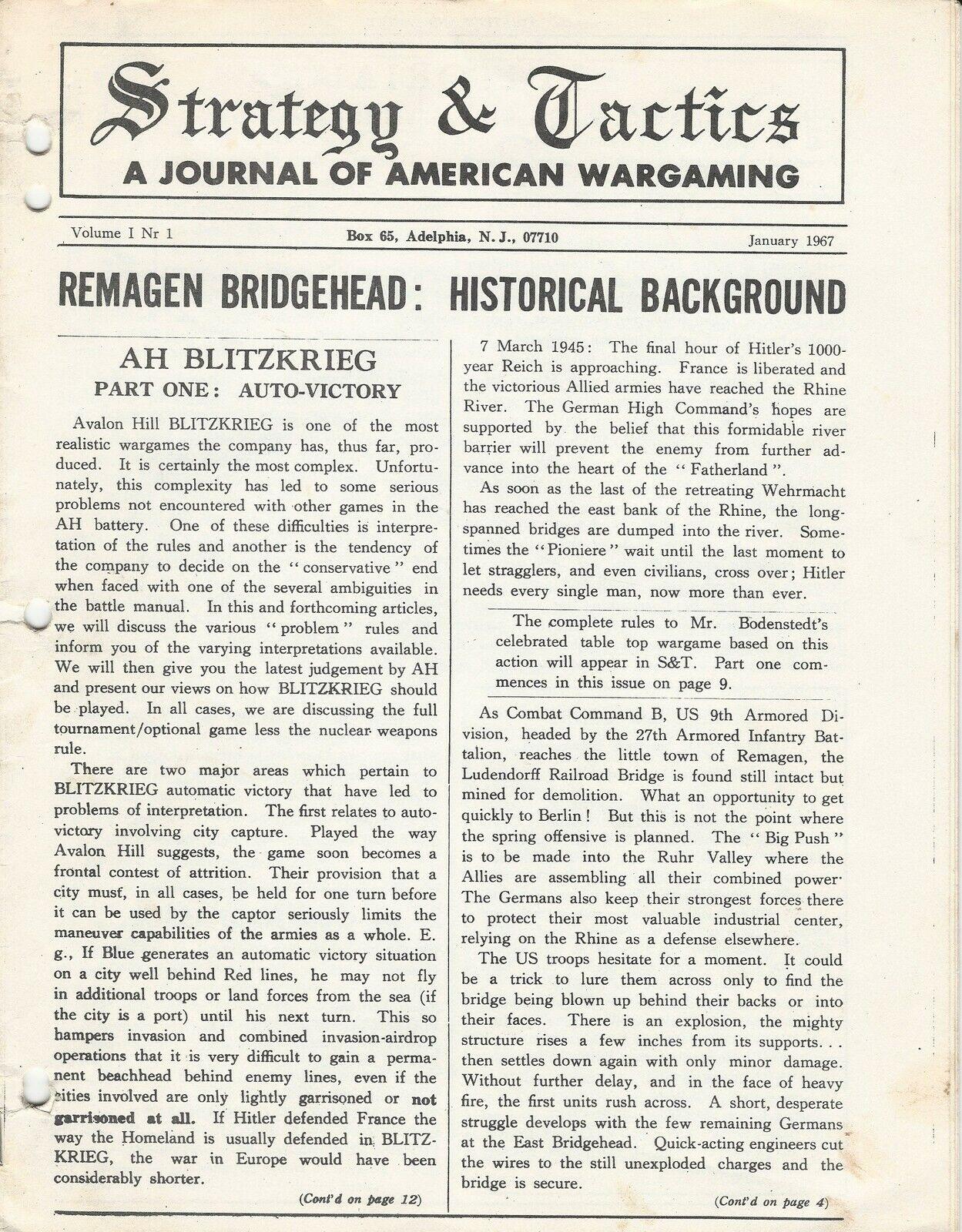Strategy & Tactics S&T Vol 1 Remagen, Blitzkrieg, First issue reprint FS