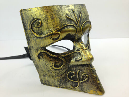 MENS BAUTA VENETIAN MASK SILVER GOLD METAL STYLE MASQUERADE FANCY DRESS CARNIVAL