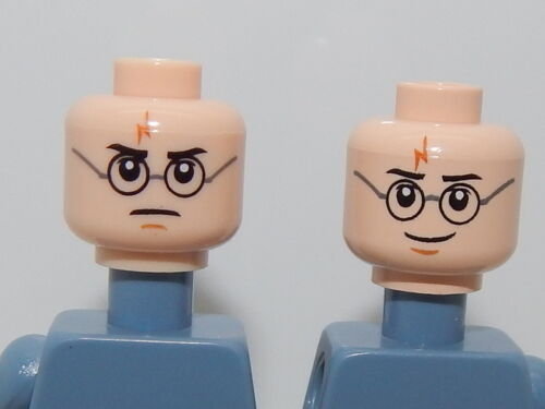 Lego Minifigure Head Harry Potter Dual Sided Harry Glasses /& Lightning Bolt H41