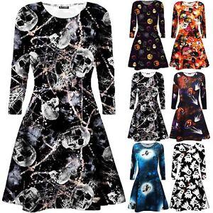Kleidung & Accessoires Kostüme & Verkleidungen New Womens Ladies Skull Ghost Moon Printed Fancy Party Skater Swing Mini Dress