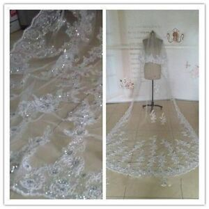 Hot-sell-2T-White-Ivory-Wedding-Veils-Cathedral-Lace-Edge-Comb-Bead-Bridal-Veil