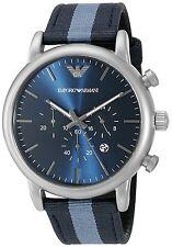 Emporio Armani Men's AR1949 Dress Chronograph Blue Dial Blue Striped Nylon Watch