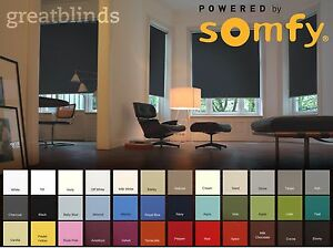 Somfy Electric Blackout Roller Blinds With Remote Control