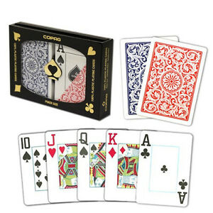 New-COPAG-Plastic-Playing-Cards-Poker-Size-Jumbo-Index-Red-Blue-FREE-CUT-CARD