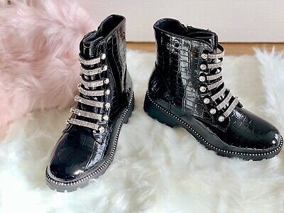 New Womens Chelsea Ankle Boots ladies Chunky Low Heel Croc Diamante shoes size