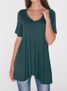 6fa03819d70 Teal Green A-Line V-Neck Loose Tunic Top T-Shirt Blouse SML/Plus ...