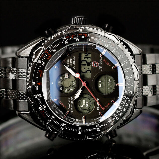 SHARK MENS DIGITAL LUXURY ARMY SPORT STAINLESS STEEL 6 COLORS QUARTZ WRIST WATCH
