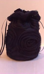 BLACK ROSE DESIGN TULLE AND SATIN DOLLY BAG. BRIDE / BRIDESMAID / EVENING