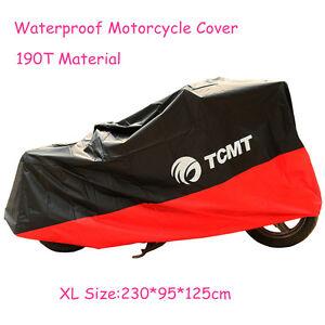 Motorcycle Cover Orange Black XL Waterproof Bike Outdoor Rain Dust UV Protector