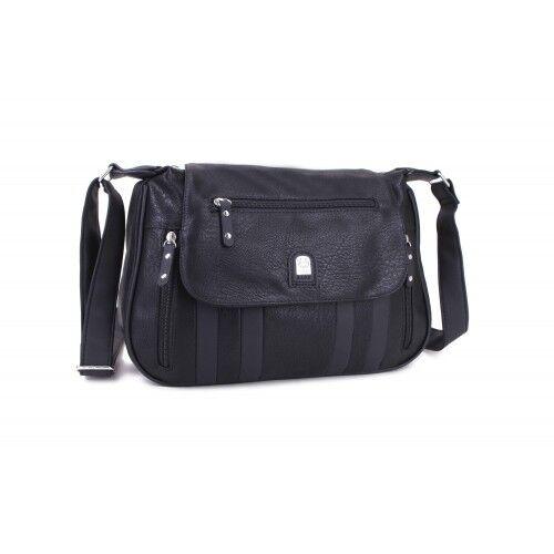 Ladies Faux Leather Travel Messenger Bag Two Tone Cross Body Bag Handbag M18201