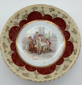 "Antique Victoria Carlsbad Austria Porcelain Plate Kaufmann Signed Red Gold 7"""
