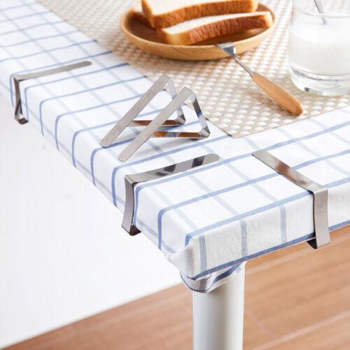4 X Clip Table Nappe Fix Support Cuisine Dinning Table en Acier Inoxydable Anti Glisse