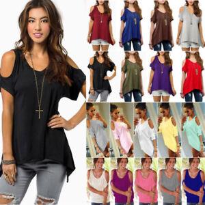 6a4514d06c95c Plus Size Women Summer Cold Shoulder Tops Blouse Tee Short Sleeve ...