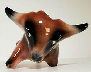 "Vintage MCM Art Pottery Long Horn Brown Bull Planter Succulents. 10""x6"" Ceramic"
