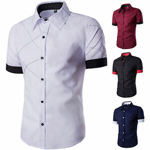 Luxury-Men-Stylish-Casual-Dress-Shirt-Slim-Fit-T-Shirts-Short-Sleeve-Summer-Tops