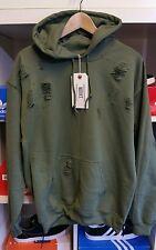 Distressed ripped army green  hoodie by 9DEUCE  sweatshirt sweat shirt  M MEDIUM
