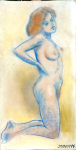 VINTAGE - Nu à genoux signé Schouppe - 1950/60_