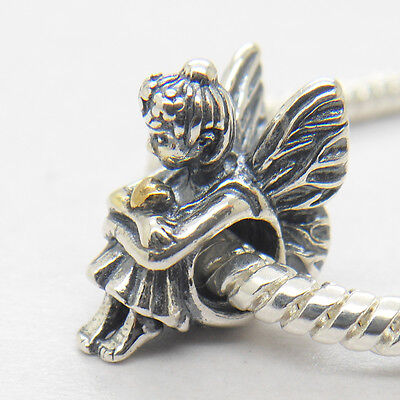 New Pixie Fairy W 14k Gold Heart Sterling Silver Charm Valentine's Day Gift bead