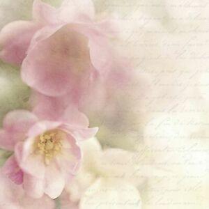 3 SERVIETTEN NAPKINS APPLE FLOWER 33X33 APFELBLÜTEN ROSÈ SCHRIFT SAGEN VINTAGE