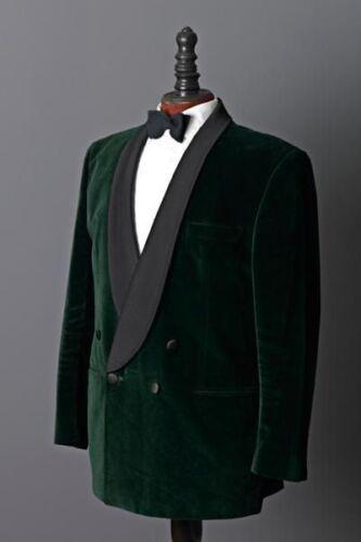 stijl jas diner blazer dubbele Heren borst vintage smoking Groene fluwelen C4fvwgq