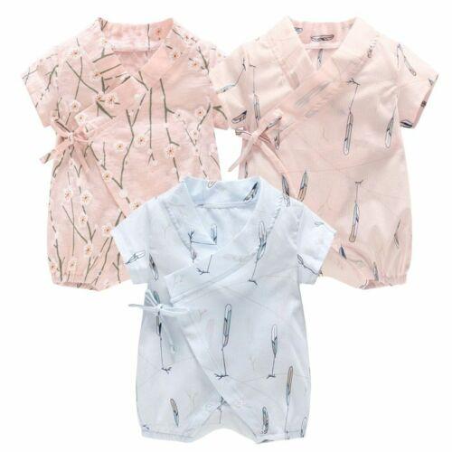 Newborn Infant Summer Romper Baby Girl Boy Toddler Clothes Kimono Bodysuit 3-18M