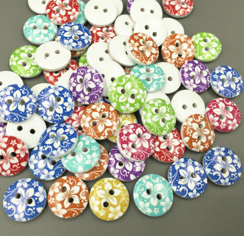 100pcs Wooden Round Cherry pattern Buttons 2-holes sewing scrapbooking 15mm