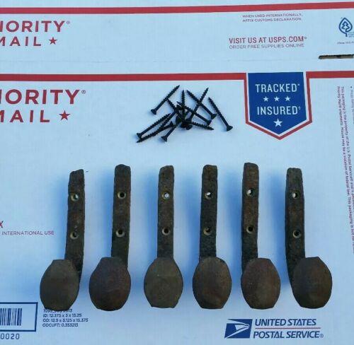 Natural Rust Patina 6 Railroad Spike Hooks Screws. Rustic Coat Hanger