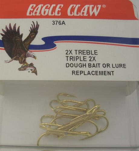 Eagle Claw 376A #6 2X Dough Bait or Replacement Gold Treble Hooks 5CT 7251