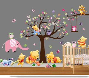 Forrest-Tree-Winnie-the-pooh-animal-Nursery-Baby-Pink-Elephant-Owl-Wall-Stickers