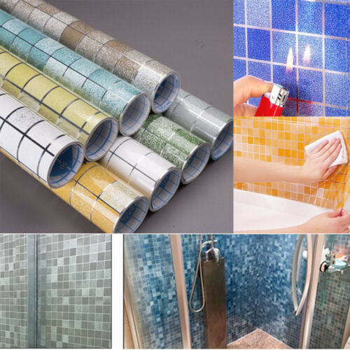 Self adhesive Scrub Mosaic Wall Tile Stickers Kitchen Vinyl Oil-proof Wall Paper