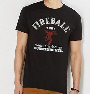Fireball whisky tastes like heaven burns like hell t shirt for T shirt licensing agreement